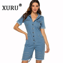 XURU Summer New Womens Denim Jumpsuit Fashion Casual Nail Sexy Slim Holes Shorts