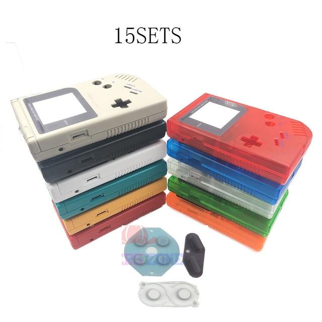 15 ensembles boîtier avec tampon en caoutchouc conducteur en silicone pour Gameboy Game Boy classique Original GB Console boîtier coque housse