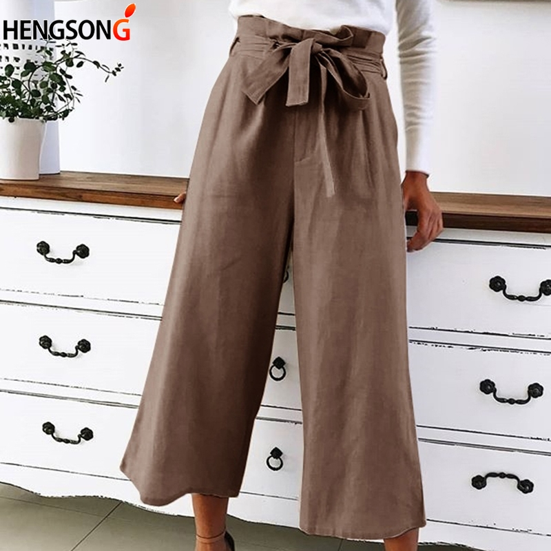 HENGSONG 2018 Women Elastic High Waist Wide Leg Pants Elegant Bow Tie Loose Casual Lace Up Pants Black Causal Loose Trousers