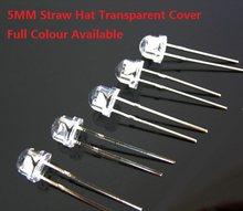 100PCS 5MM Strohhut DIP LED Rot Gelb Grün Blau Warm Weiß Transparent Abdeckung hohe helle F5 qualität perle licht emittierende diode