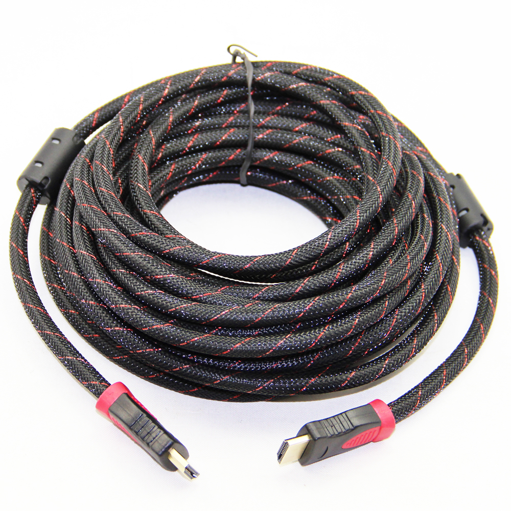Gold Plated Nylon Mesh Braided HDMI Cable Pure Copper V1.4 HDMI Male ...