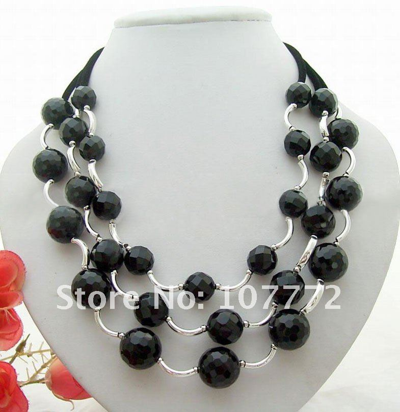 3 strands Round Black Faced Onyx Neklace