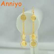 Anniyo Wholesale Coin Money Sign Gold Color Drop Earrings Ancient Coins Muslim Jewelry Women,Islamic Middle East