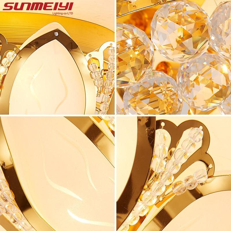 Lotus Flower Moderne Ceiling Light Med Glas Lampeskærm Guld Ceiling - Indendørs belysning - Foto 4