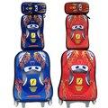 EVA saco de escola CARROS 3 carros crianças mochila escola sacos de rodas mochila bagagem do trole da bagagem conjunto com mochila para meninos