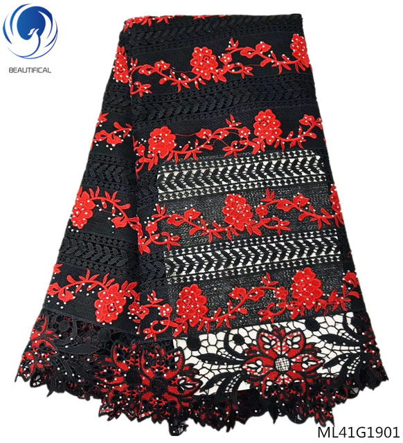 BEAUTIFICAL guipure lace fabrics with rhinestones 2019 high quality lace dress cord laces fabrics for women 5yards/lot ML41G19