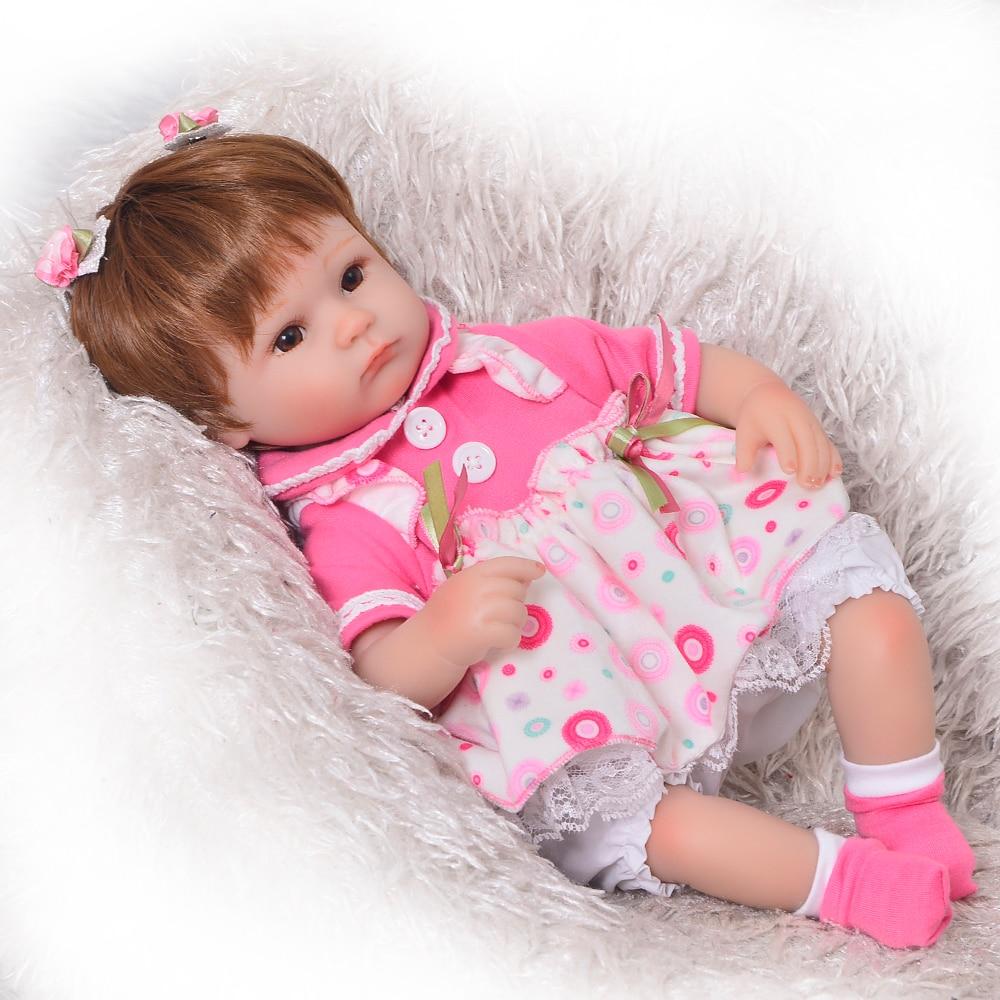 Bisa Duduk dan Berbaring 17 Inch Reborn Baru Lahir Bay Boneka Lembut  Silikon Realistis Hidup Putri Bayi Anak-anak Hadiah Natal 3a1b3b0cef