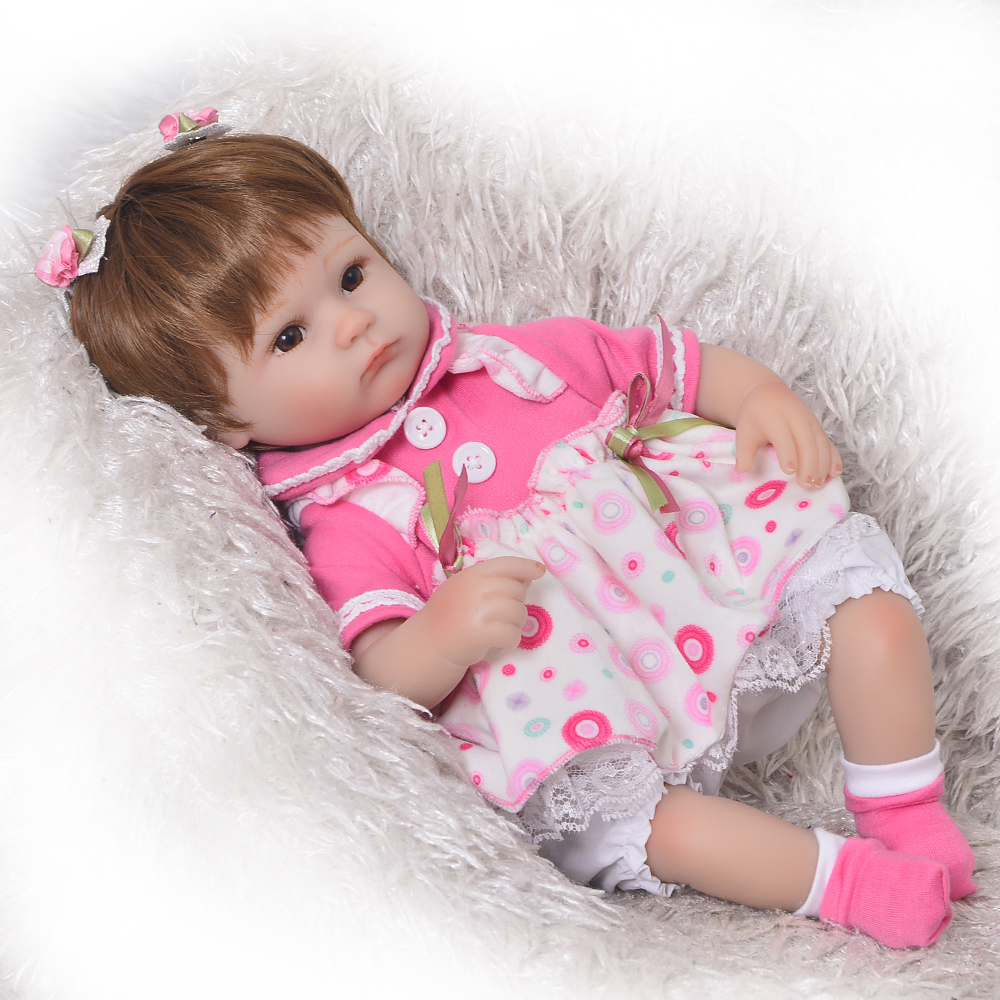 Can Sit And Lie 17 Inch Reborn Newborn Bay Doll Soft Silicone Realistic Alive Princess Babies Kids Birthday Christmas Gift can sit and lie 22 inch reborn baby doll realistic lifelike silicone newborn babies with pink dress kids birthday christmas gift