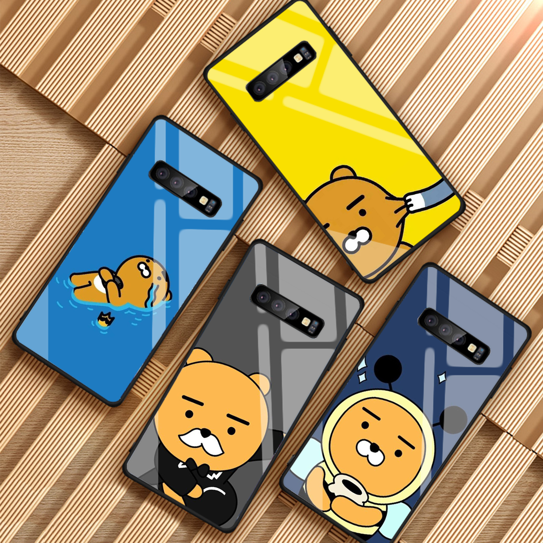 Cartoon Funny Cocoa Case Tempered Glass Phone Case For Samsung Galaxy A6 A6S A8 A8S J6 J8 2018 S8 S9 S10 PLUS NOTE 8 9
