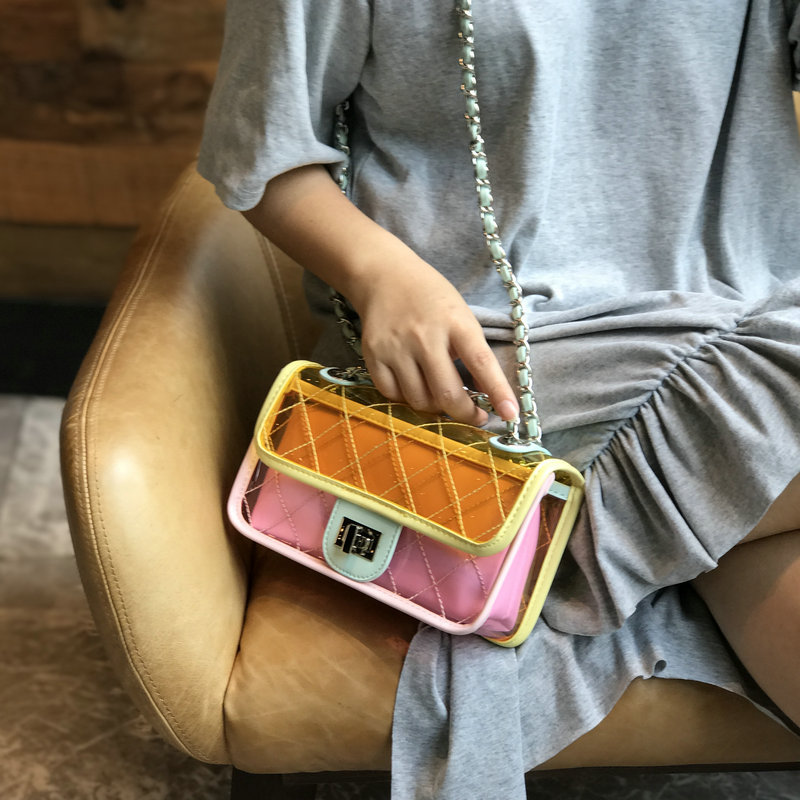 2018 Summer Transparent Bag Clear PVC Jelly Small Tote Messenger Bags Summer Beach Bag Girls Laser Holographic Shoulder Bags