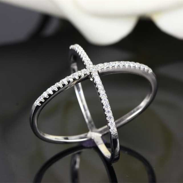 Designer Fashion 925 Sterling Silver Jewelry 3A Cubic Zirconia Cross Ring