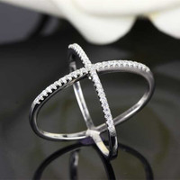 Designer Fashion 925 Sterling Silver Jewelry 3A Cubic Zirconia Part Ring