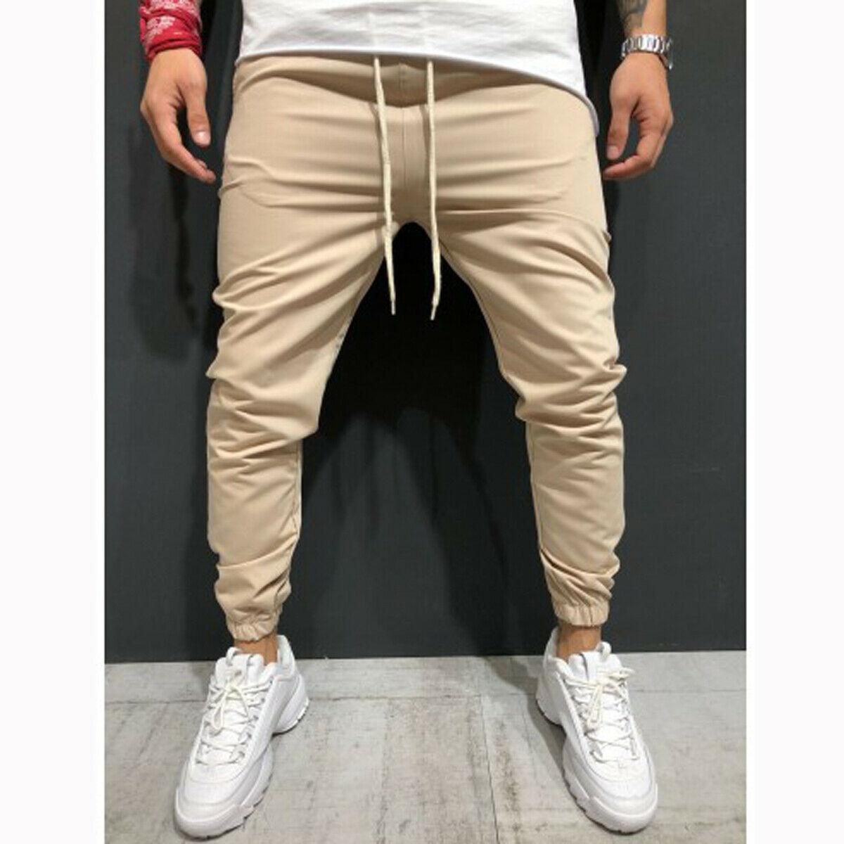 Mens Casual Slim Fit Tracksuit Sport Skinny Jogging Joggers Sweat Pants Trousers Sweatpants Black Blue Gray Green Khaki