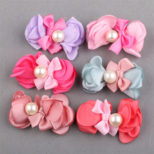 Trendy New 10PCs 30PCs Round Acrylic Ribbon Bow Decorated Fabric Floral Button Patch Stickers Girl Hair Jewelry Headband Garment