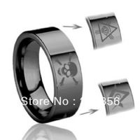 Free Shipping Buy Cheap Price Discount Jewel USA HOT Selling 8MM Men&Womens Tribel Masonic logo Engraved Black Wedding Rings
