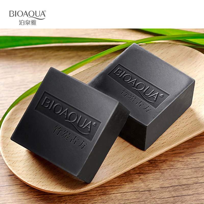 2 pcs BIOAQUA Bamboo charcoal handmade soap Treatment skin care natural Skin whitening soap deep cleansing oil-control face care holika holika egg soap special set 4 type 50g x 4 pcs moisturizing whitening soap deep cleansing dead skin korea cosmetic