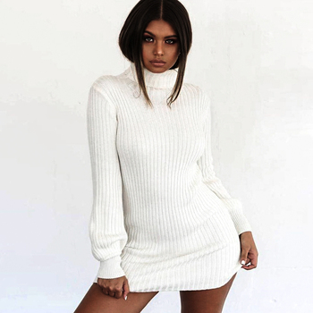 Women Casual Autumn Winter Sweater Dress