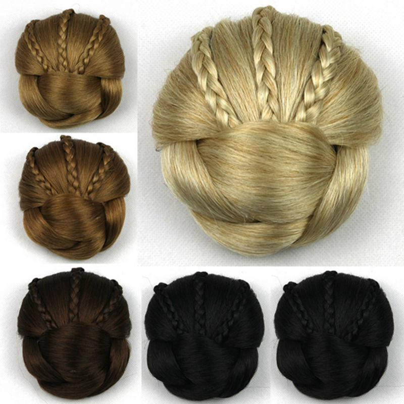 Women Fashion French tiara Wave Curly Braided Clip In Hair Big Hair Bun Chignon Synthetic Hair wig headband headwear accessoires fashion hair fiber braided bun twisted fake chignonn hairpiece clip buns toupee for women a18