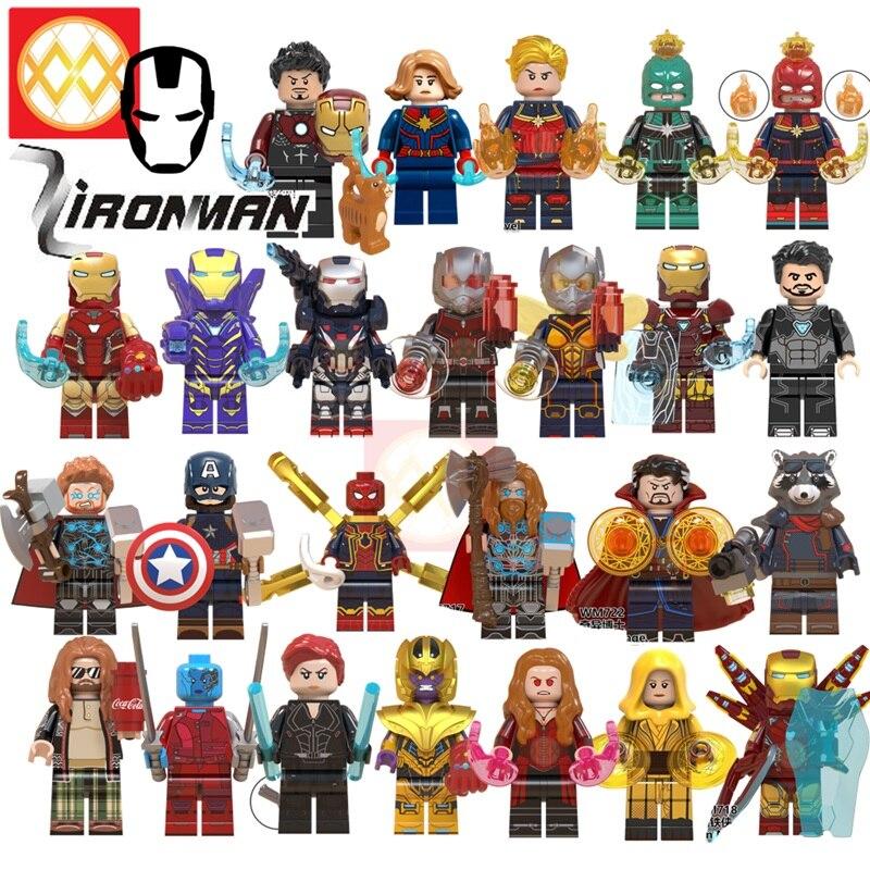 Iron Man Avengers Endgame Captain Marvel Thor Hulk Rocket Raccoon Spiderman Thanos Doctor Strange Building Blocks Kids Toys Gift
