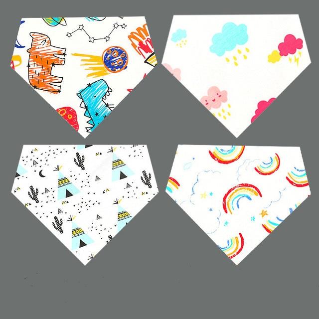 Baby Bibs Burp Cloth Cotton Double-side Print Triangle Reusable Bibs Baby Adjustable Feeding Towels Bandana Safety Infant bibs