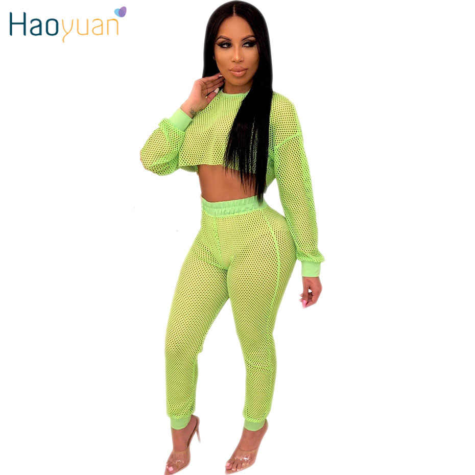 1393e50deb Detail Feedback Questions about HAOYUAN Neon Green Fishnet Mesh Two Peice  Set Women summer Crop Top and Pants with Panties Sexy club outfits 2 pcs  Matching ...