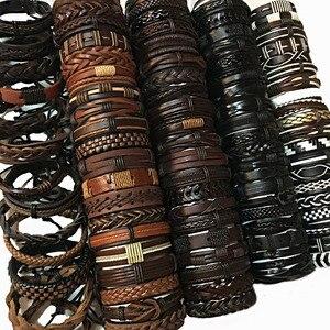 Image 2 - ZotatBele 50 pcs/Lot fait main hommes femmes Mix Styles tressé cuir manchette Bracelets bijoux (envoyer aléatoire 50pcs Bracelets) MX3