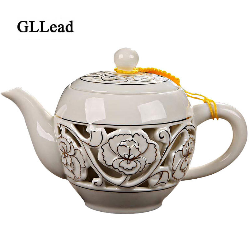GLLead Chinese Style Hamdemade Ceramic Tea Pot Creative Hollow Out Kung Fu Tea Pots And Coffeepot Cup Porcelain Set