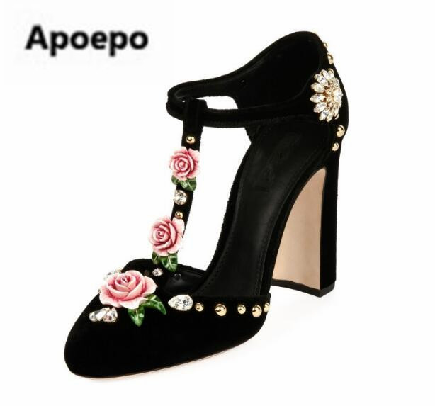 Apoepo 2018 Retro luxury Velvet ladies shoes round toe high heels pumps shoes flower decor dress shoes crystal stiletto heels