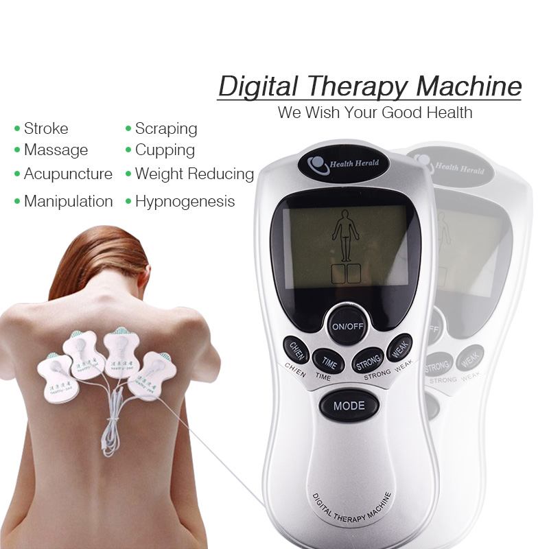 Health Care Slimming Body Acupuncture Electric Tens Unit Physical Therapy Massager With 4 Electrotherapy Stimulation Electrode 4 electrode tens acupuncture electric therapy massageador machine pulse body slimming sculptor massager apparatus body care