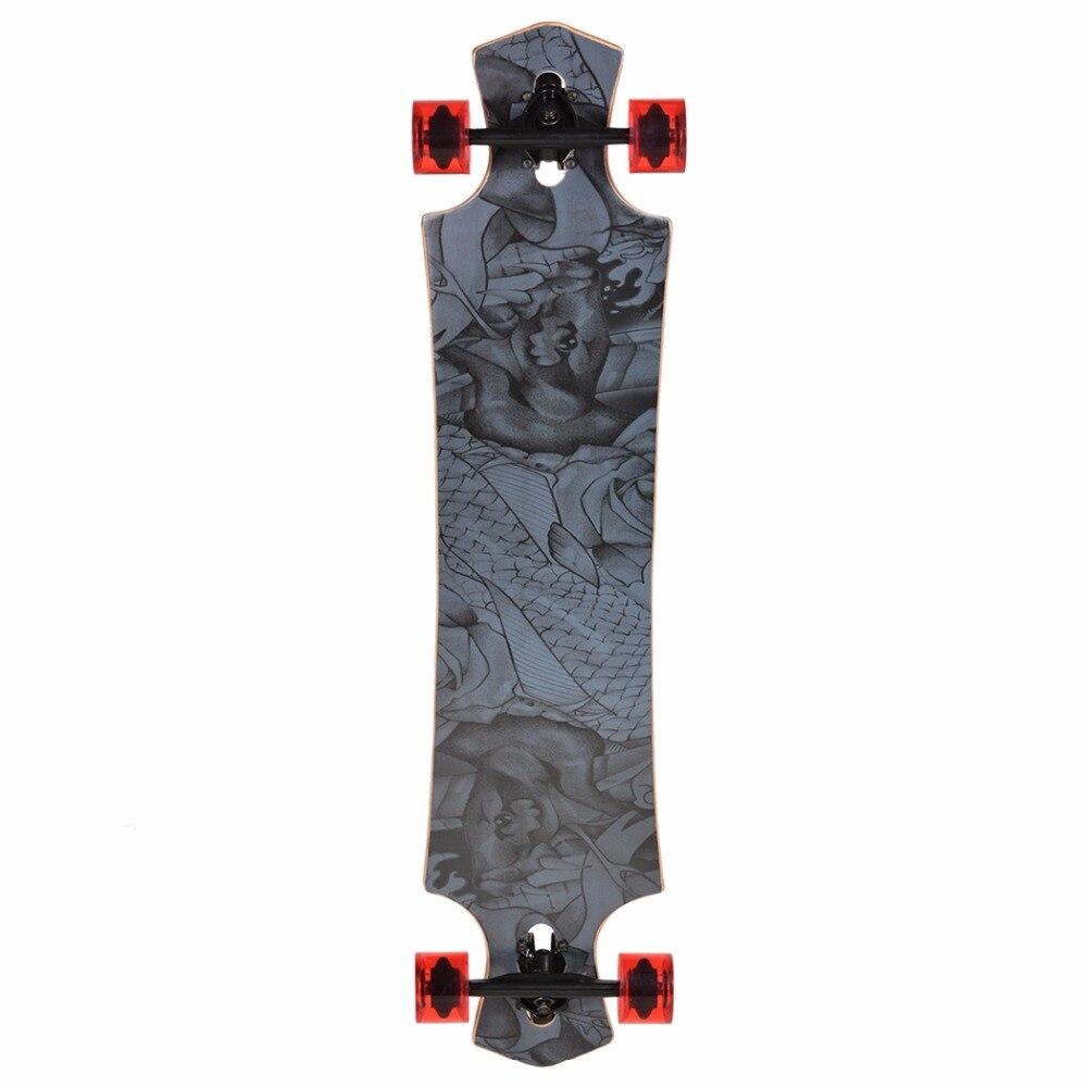 ФОТО Professional Adult Grip Tape Deck Street Longboard Complete Skateboard Double Row Wheels Speed Long Skate Board Fast Shipping