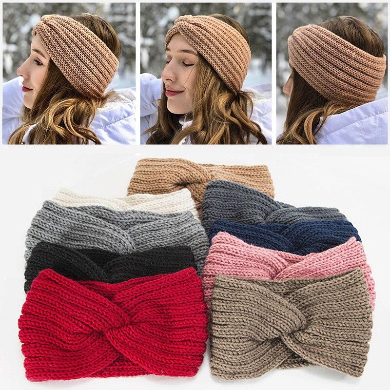 4PC Knitted Hairband,Cross Elastic Wool Cotton Thread Sports Headband Warm Hair Accessories