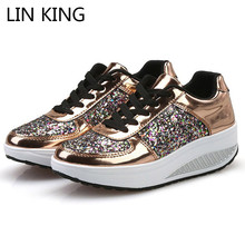 LIN KING New Spring Autumn Women Casual Shoes Lace Up Glitter Swing Thick Sole Platform Height Increase Wedges