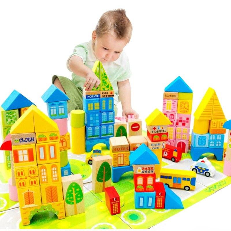 100 Pièces ville trafic blocs de construction pour enfants en bois jouets éducatifs enfants en bois briques jouet De Base d'empilage jouets JTJM001
