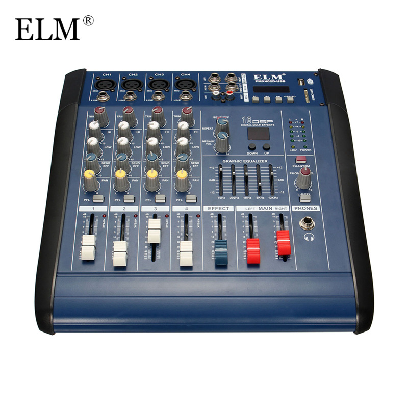 ELM Professional 4 Channel Karaoke Digital Sound Mixing Console Microphone Audio Mixer With Power Amplifier With USB 48V Power professional 4 channel live mixing studio audio sound console network anchor portable mixing device vocal effect processor