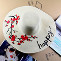2016 Mujeres de la moda gran playa sombrero de verano flor de ciruelo individual accesorios sombrero de paja