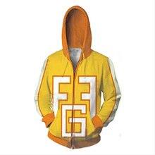 Sweat shirt à capuche My Hero academy, imprimé en 3D, uniformes à capuche, avec fermeture éclair, Fatgum, jaune, sweat à capuche