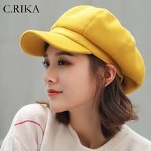 Модный шерстяной однотонный берет для женщин; сезон осень-зима; восьмиугольная кепка для художника; газетная кепка; желтый берет; шапки