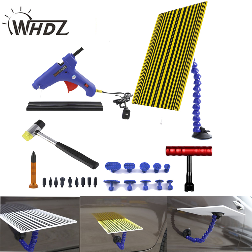 20 pcs PDR Tool Kit - PDR Line Board Reflector Board with PDR Tool T-Bar Knock Down Dent Hammer Puller Tab Glue Gun Glue Sticks pdr tool pdr brace tool b4