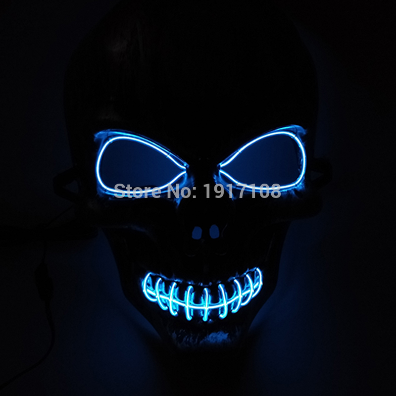 50 pcs LED Neon Light Glowing EL Wire Mask Party Mask Fashion 10 color Available Ghost Skull Mask For Halloween Party Decoration