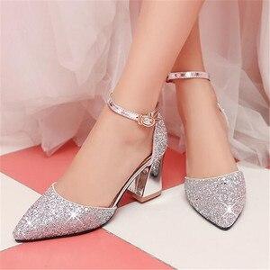 Image 4 - 새 여자 가죽 신발 공주 높은 굽 모델 catwalk 신발 어린이 키즈 웨딩 드레스 신발 아기 학생 019