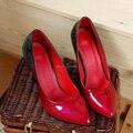 Chino estilo club nocturno atractivo del dedo del pie puntiagudo bombas de pintura coincidencia de colores moda azul rojo tacones altos zapatos de mujer talla 34 ~ 39CN