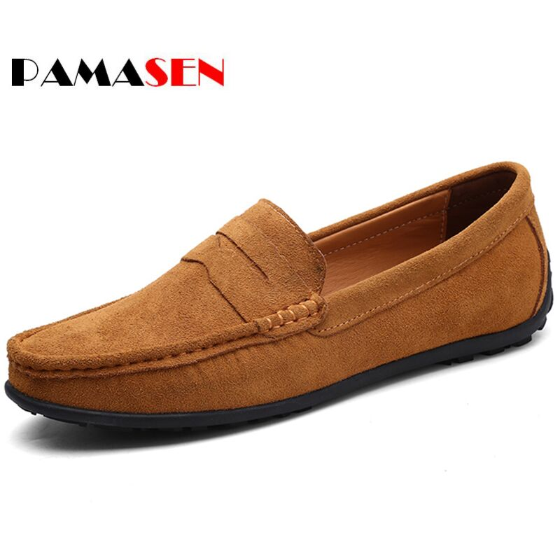 PAMASEN New Mens Casual Shoes Fashion Peas Shoes Suede Leather Men Loafers Moccasins Slip On Mens Flats Male Driving Shoes 38-47 bole new handmade genuine leather men shoes designer slip on fashion men driving loafers men flats casual shoes large size 37 47