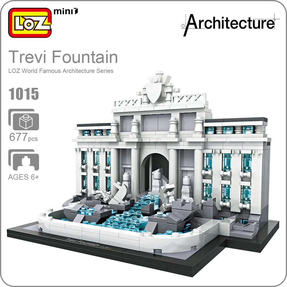 LOZ Mini Blocks Trevi Fountain Educational Model Kit Toys For Children Building Blocks Architecture Kids Assembly Toys DIY 1015 loz lincoln memorial mini block world famous architecture series building blocks classic toys model gift museum model mr froger