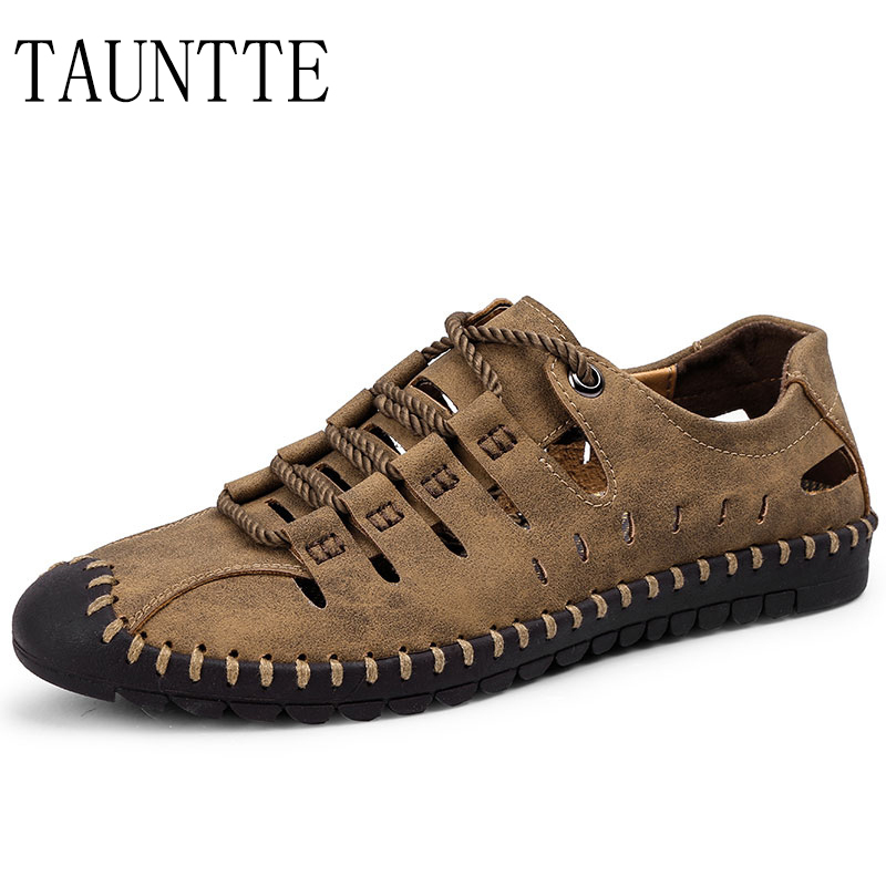 Summer Genuine Leather Sandals For Men Casual Beach Jelly Shoes