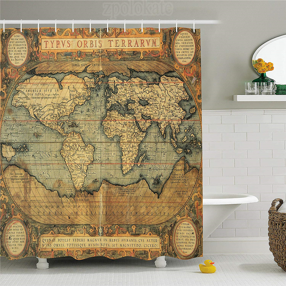 Detail Feedback Questions about World Map Shower Curtain Ancient Old