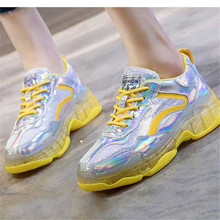 New Womens Casual Shoes Colorful Sequins Transparent Thick Bottom Increased Breathable Comfortable Running Tennis