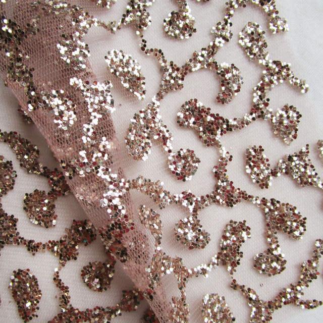 3 yards french art rose gold lace glitter net fabric sequins shining prom dress  mesh fabric 20f8b8821b09