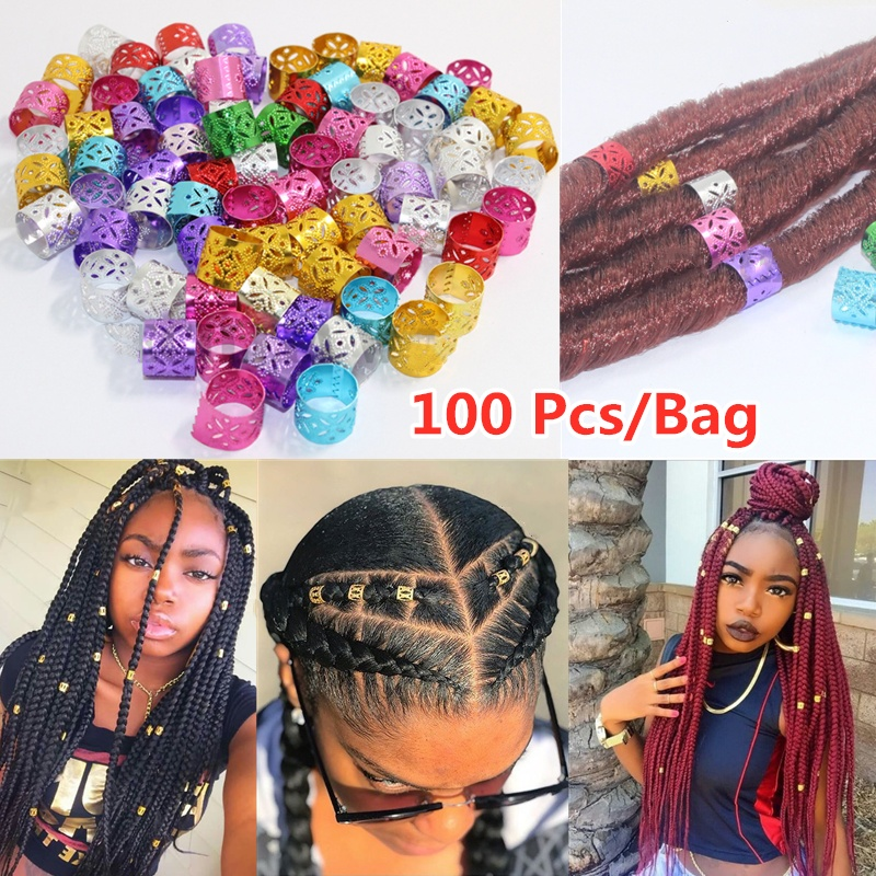 100 PCS/Bag Colorful Hair Braiding Beads Rings Cuff Hair Styling Decoration Tools