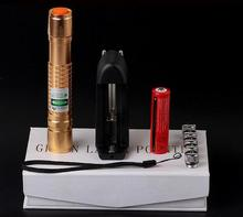 Big sale NEW Military Burn Match Professional Powerful 10000MW Focusable burning Green Laser Pointer With 5 Star Caps Charger Box