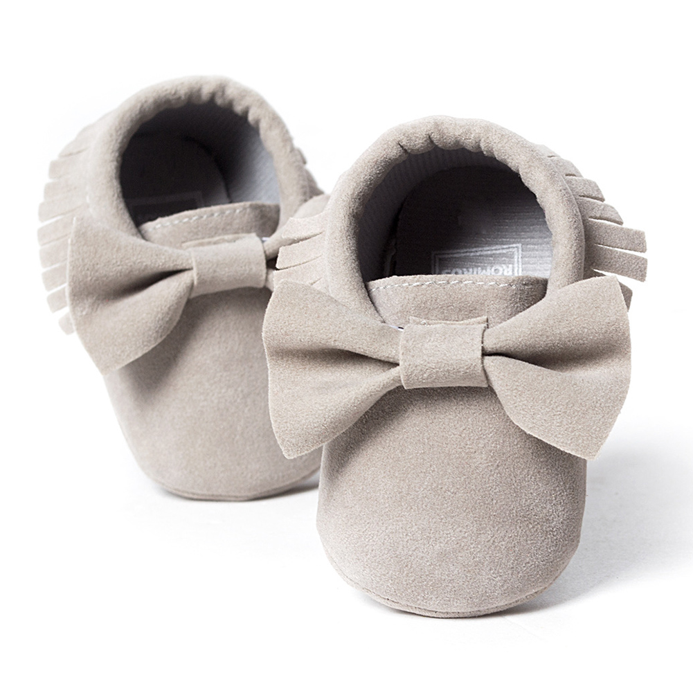 ROMIRUS Baby Soft Tassel Girls Bow Moccs Soft sole Infants Girl shoes Tassel Shoes Grey 12cm